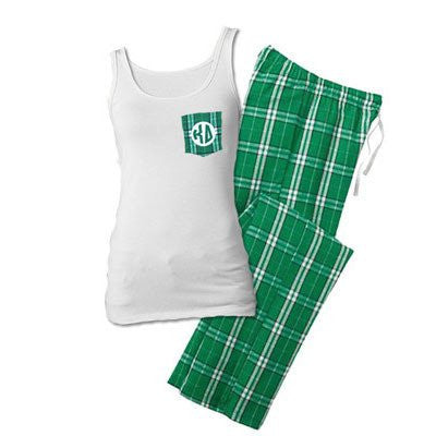 greek sorority fraternity crocket tank pajama set back to school sleepover clothing somethinggreek