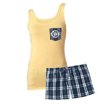 sorority frocket tank and boxers pajama pant set greek clothing fraternity merchandise