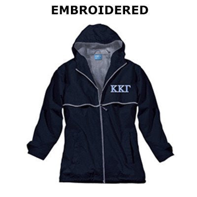 greek sorority rain jacket script monogram embroidered jacket fraternity greek