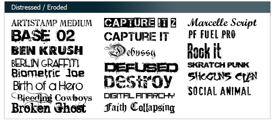 Distressed and Eroded Fonts