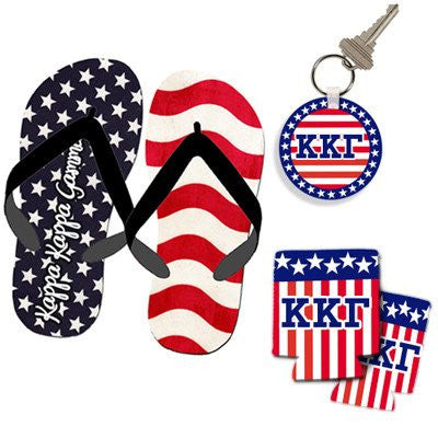 greek sorority fraternity patriotic americana package flip flops keychain koozie greek accessories