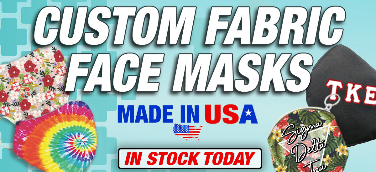 Custom Fabric Face Masks: Made in USA; In Stock Today