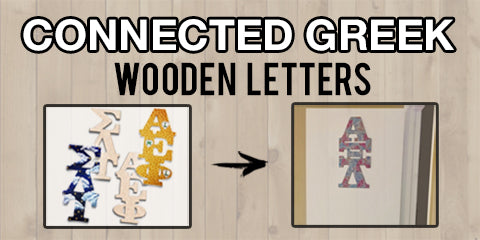 Custom Greek wood connected letters for paddles