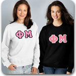 Phi Mu Sorority clothing specials on custom Greek gear