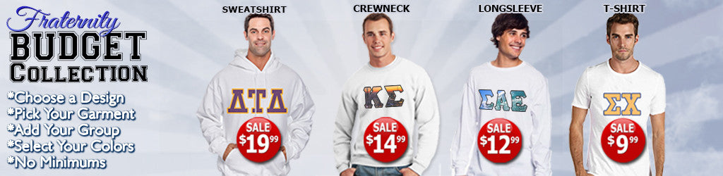 Fraternity Apparel On Sale! Only $9.99!