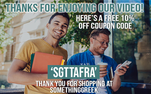 Thanks for enjoying our video! Here's a FREE 10% OFF coupon code: SGTTAFRA. Thank you for shopping at SomethingGreek.