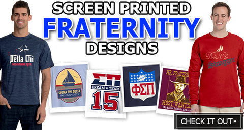 Custom Greek Fraternity clothing with screen print artwork