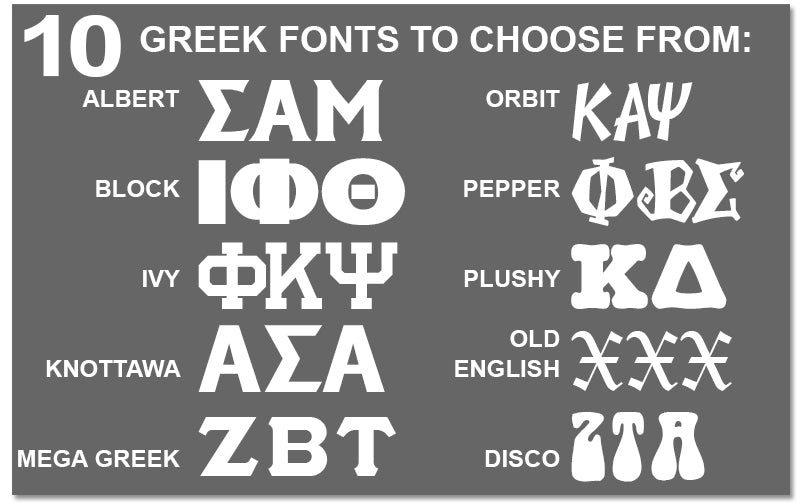 Custom letter font Greek merchandise and gear