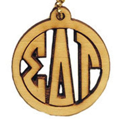 greek circle engraved monogram keychain wood accessories fraternity and sorority merchandise