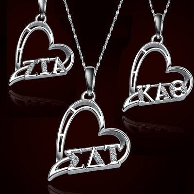 Something Greek Custom Sorority Heart Charms with Stones