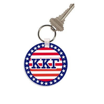 greek sorority fraternity stars stripes flag independence day patriotic key chain accessory