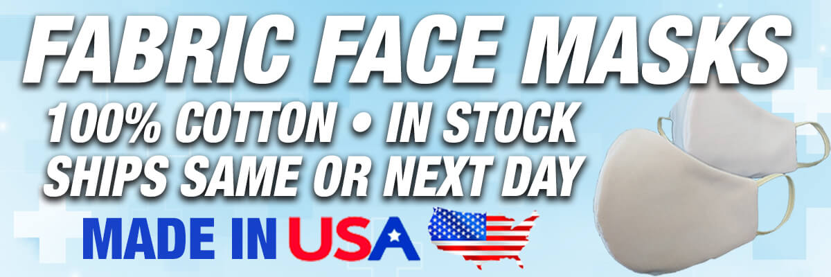 Fabric Face Masks: 100% Cotton; In-stock; Ships Same or Next Day; Made in USA