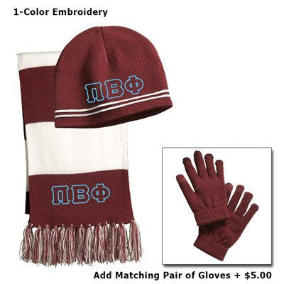 greek embroidered package winter beanie scarf and gloves greek letter accessories and merchandise