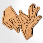 Sign Hands Shaped Custom Greek Engraved Wooden Merchandise