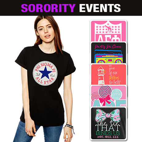 Sorority screen printed clothing designs for Greek Week