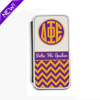 Sorority Monogram Leather Phone Flip Case