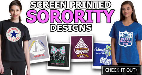 Custom Greek Sorority clothing with custom screen print artwork