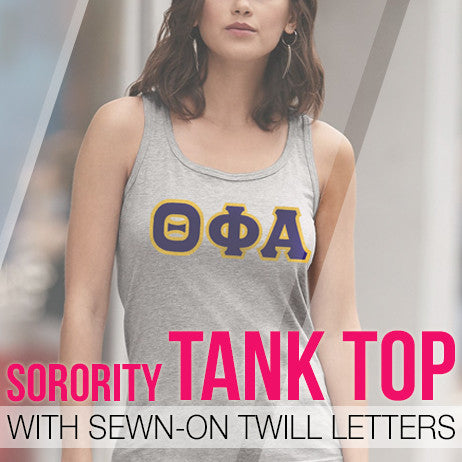 Sorority Twill Lettered Tank Top