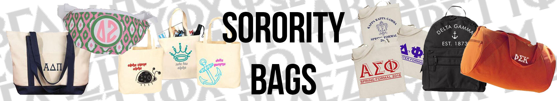 Custom Sorority Tote Bags, Backpacks, and more with Greek Letters