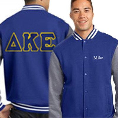 greek sorority fraternity varsity jacket custom letter pattern border somethinggreek embroidery