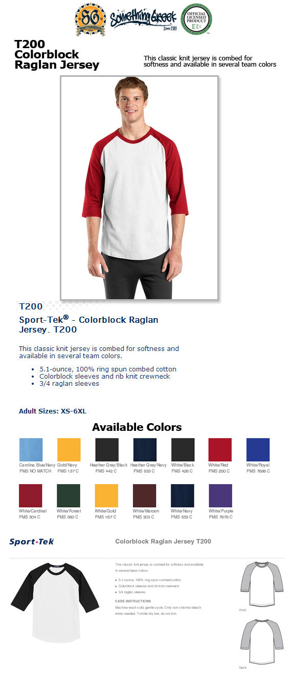 baseball raglan tee Something Greek Sorority clothing custom design embroidery letters printed colors