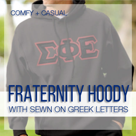 Best Selling Fraternity Hooded Sweatshirt with Sewn on Greek Letters