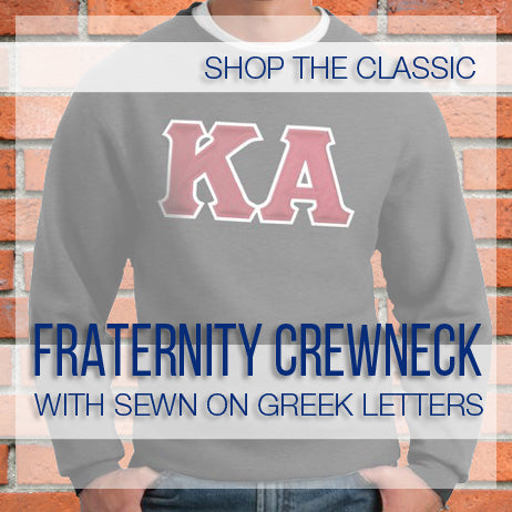 Fraternity Custom Crewneck with Sewn on Greek Letters