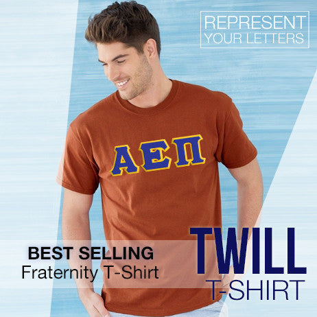 Best Selling Fraternity Twill Lettered T-Shirt