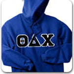 Theta Delta Chi Fraternity letters on custom Greek gear