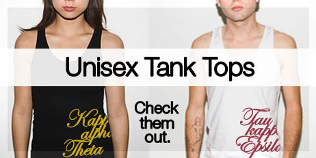 American Apparel custom Greek merchandise and Tank tops