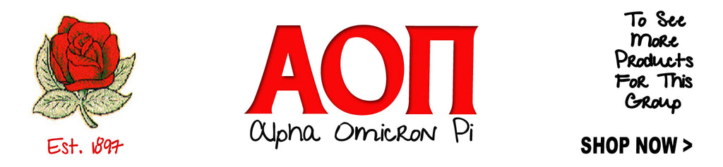 Alpha Omicron Pi Sorority clothing and Custom Greek merchandise