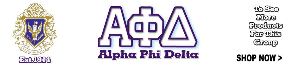 Alpha Phi Delta Fraternity clothing and Custom Greek merchandise