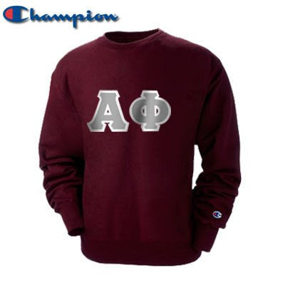 greek fraternity sorority alpha phi champion crewneck sweatshirt custom letter pattern somethinggreek