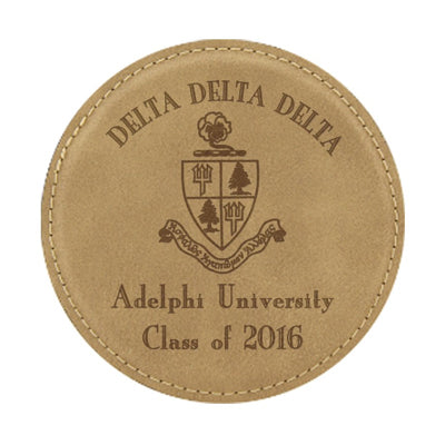 Custom Greek graduation engraved leather coaster