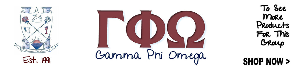 Gamma Phi Omega Sorority clothing and Greek merchandise