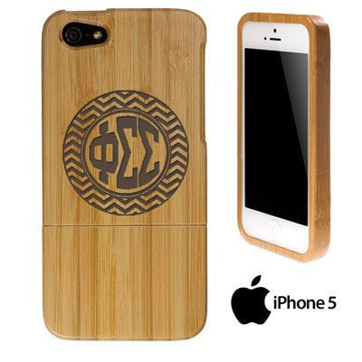 greek fraternity sorority iphone case bamboo engraved chevron pattern