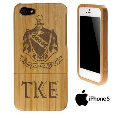 greek iphone wood engraved bamboo phone case with crest