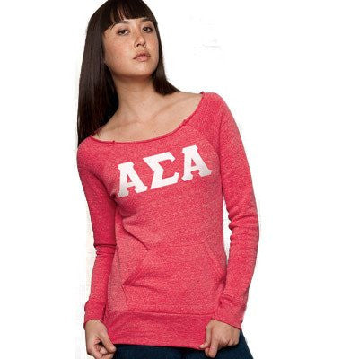 Something Greek Sorority Ladies Off-The Shoulder Printed Crewneck