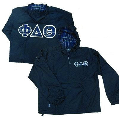 plaid lined greek pullover jacket twill and embroidery customized sorority fraternity clothing and merchandise