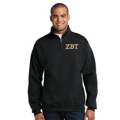Zeta Beta Tau Fraternity Embroidered Quarter-Zip Pullover - Jerzees 995M - EMB