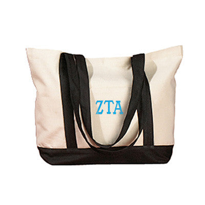 Zeta Tau Alpha Sorority Embroidered Boat Tote - Bag Edge BE004 - EMB