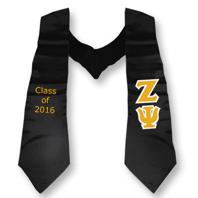 Zeta Psi Graduation Stole with Twill Letters - TWILL