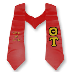 Theta Tau Graduation Stole with Twill Letters - TWILL