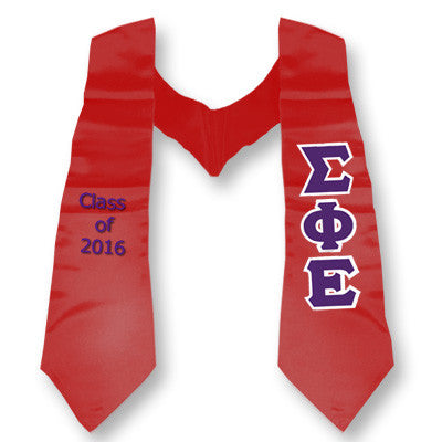 Sigma Phi Epsilon Graduation Stole with Twill Letters - TWILL