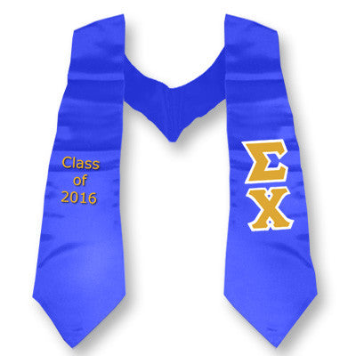 Sigma Chi Graduation Stole with Twill Letters - TWILL