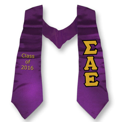 Sigma Alpha Epsilon Graduation Stole with Twill Letters - TWILL