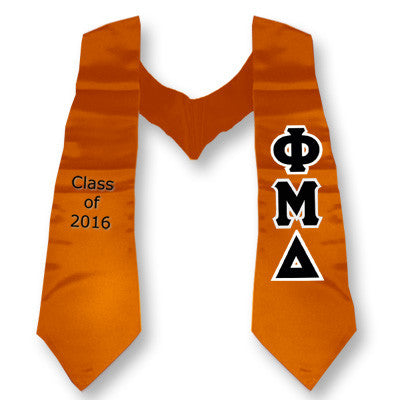 Phi Mu Delta Graduation Stole with Twill Letters - TWILL