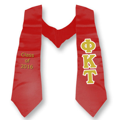Phi Kappa Tau Graduation Stole with Twill Letters - TWILL