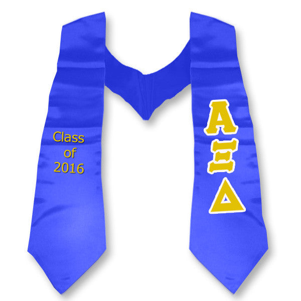 Alpha Xi Delta Graduation Stole with Twill Letters - TWILL