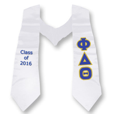 Phi Delta Theta Graduation Stole with Twill Letters - TWILL